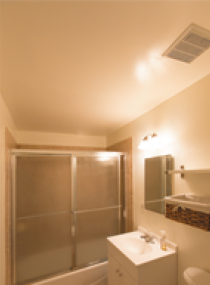 Bathroom with incandescent lighting (before)